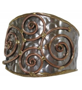 Steel with Brass and Copper Spiral Cuff Bracelet - CM110YWGBB3