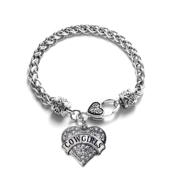 Cowgirls School Mascot Pave Heart Charm Bracelet Silver Plated Lobster Clasp Clear Crystal Charm - CM123HZXPWB