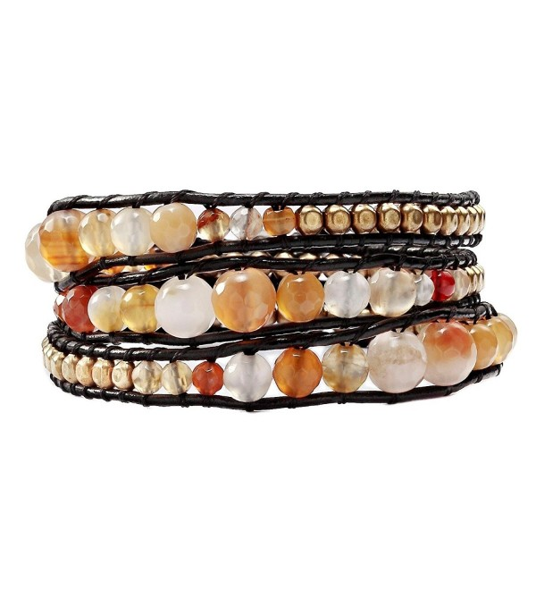 OKAJEWELRY 10 Styles 3 Wraps Bracelet Mix Natural Agate Beads On Leather - CY11Y0R0ZMJ