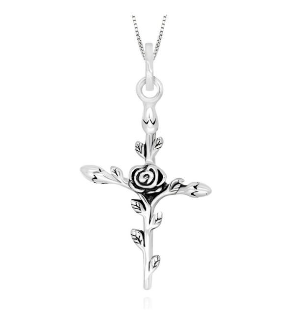 "925 Sterling Silver Vintage Rose Flower Cross Pendant Necklace- 18"" - C512KVD799H"