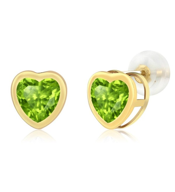 1.66 Ct Heart Shape Green Peridot 10k Yellow Gold Gemstone Birthstone bezel Stud Earrings 6MM - CV117M0BP9X