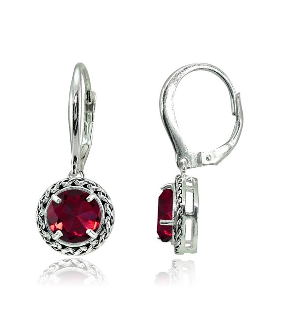 Sterling Created Oxidized Leverback Earrings - Created Ruby - CF187RMTQGY