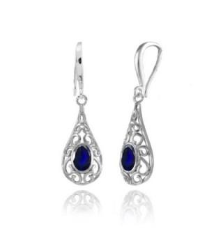 Sterling Sapphire Filigree Teardrop Earrings - Created Blue Sapphire - CP185H6N8H7