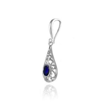 Sterling Sapphire Filigree Teardrop Earrings in Women's Drop & Dangle Earrings