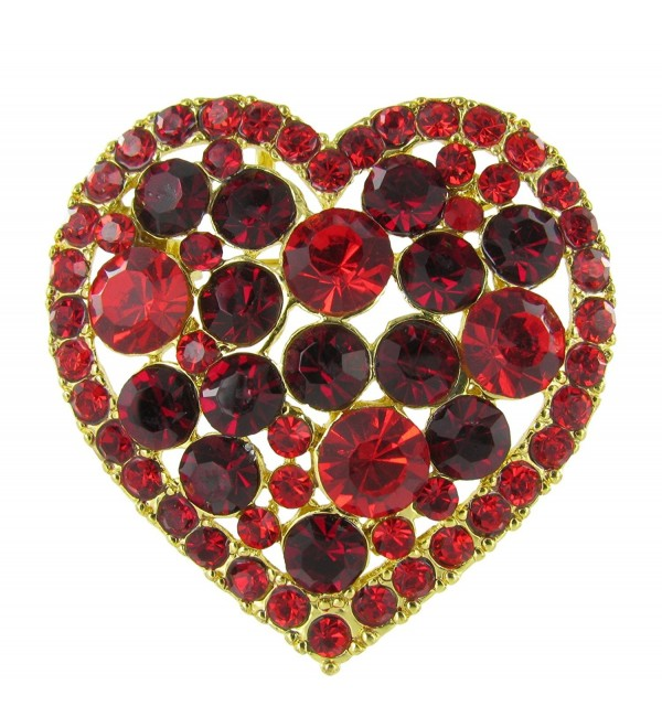 Mother's Day Candy Box Heart Rhinestone Brooch Pin with Red and Dark Red Crystals - C511IGZ3WGR