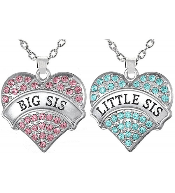 Necklaces Sisters Matching Daughters necklaces - Big Sis Pink - Little Sis Aqua Blue - C112N17U2EF