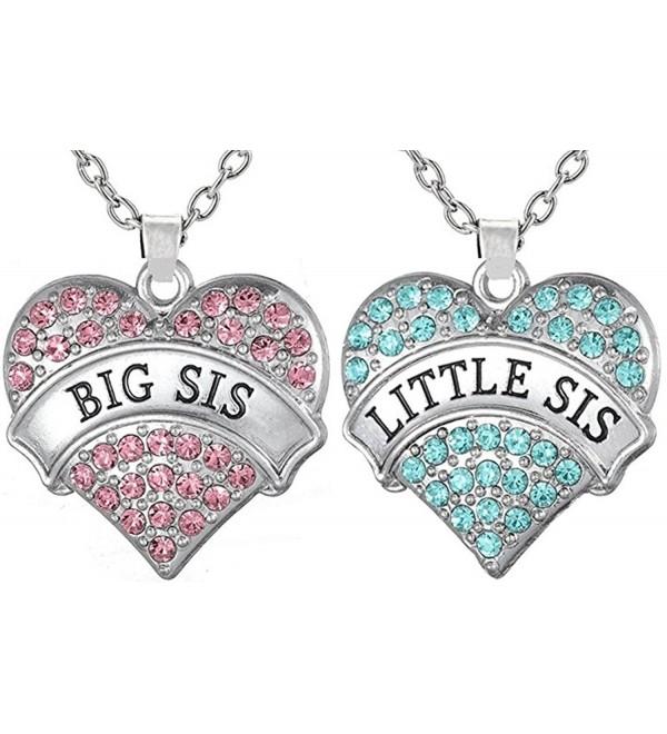 Necklaces Sisters Matching Daughters necklaces - Big Sis Pink - Little Sis Aqua Blue - C112N17U2EF