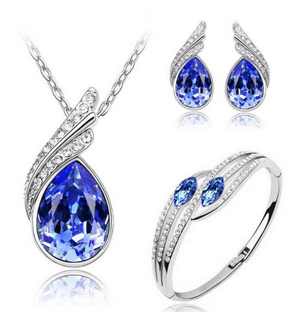 MAFMO Bridal Water Drop Jewelry Set Crystal Pendant Necklace Bracelet Stud Earrings - Royal Blue - C012ETWLXSJ