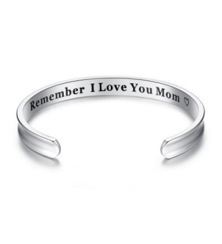 For Mother's Day Gifts - 'Remember I Love You Mom' Cuff Bangle Bracelets from Mom and Daughter Birthdays - Silver - C912NT85GOV
