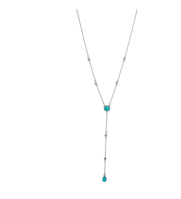 Lux Accessories Synthetic Turquoise Stone Delicate Statement Sexy Y Necklace - CR129JUI96P