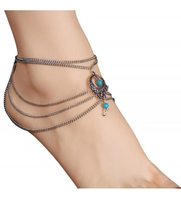 Franterd Womens Beach Anklet Barefoot Sandal Foot Turquoise Jewelry Tassel Chain - C112FMD0IG7