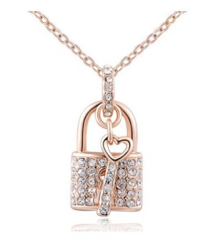 Fashion Gold Plated Austrian Crystal Padlock Pendant Necklace Valentine Gift. The Open Your Heart - CV12BONO5O5
