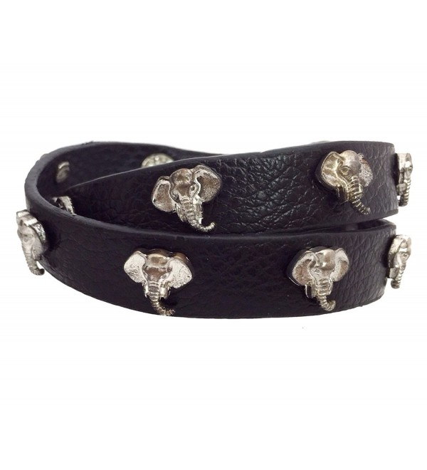 Black PU Leather Wrap Around Snap Bracelet Silver Tone Elephant Alabama Crimson Tide - CM129VSIPUP