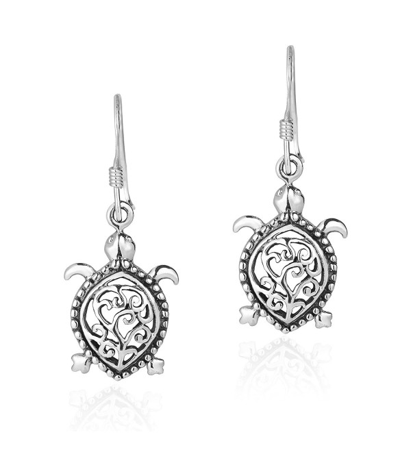 Detailed Swirl Pacific Turtle .925 Sterling Silver Dangle Earrings - CS12KGZ774H