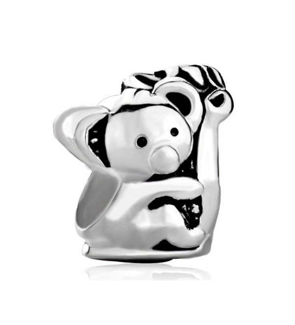 CharmsStory 925 Sterling Silver Koala Holding Tree Charms Beads For Bracelets - CQ126GNID73