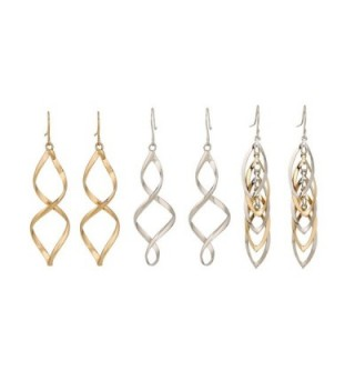 Lureme Punk Gold and Silver Tone Twisted Spiral Zinc Alloy Earrings Set 3 Pairs (02004774) - C2129J3VDM9