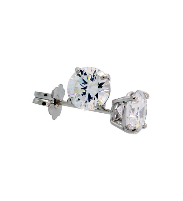 14k White Gold Cubic Zirconia Earrings Studs 5 mm Brilliant Cut Basket Setting 1 carat/pr - C61110NL0AB