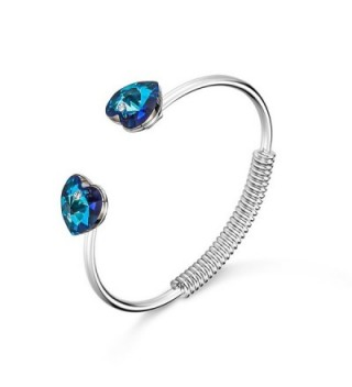 "T400 Jewelers ""Heart of Courage"" Flexible Bangle Bracelet Made with Swarovski Crystals - C0186G4YKK3"