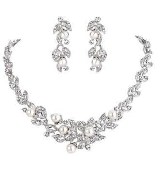 BriLove Simulated Hibiscus Necklace Silver Tone - C7186DGAI0I