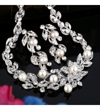 BriLove Simulated Hibiscus Necklace Silver Tone in Women's Jewelry Sets