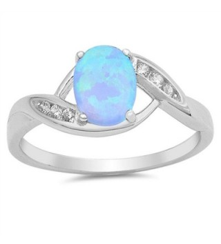 CHOOSE YOUR COLOR Sterling Silver Oval Ring - Blue Simulated Opal - CV12JBXHRU9