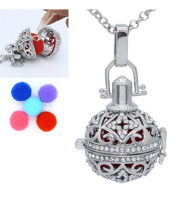 Fragrance Essential Oil Aromatherapy Diffuser Full Crystal Rhinestone Locket Cage Pendant Necklace Charms - C517YWSSU50