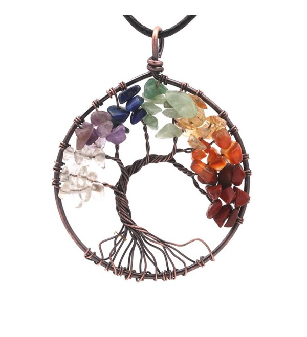 Expression Jewelry Tree Of Life Gemstone 7 Chakra Crystal Necklace Silver Toned with Cord Necklace - C3184KWQNI4