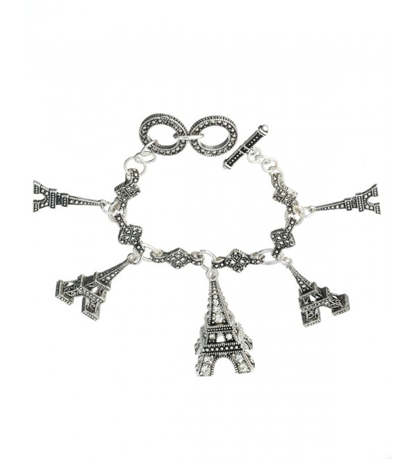 Eiffel Tower Paris Silver-tone Designer Toggle Bracelet by Jewelry Nexus Love in Paris - C411DKZAUZD