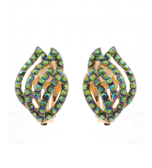 Flaring Flames Design Colored Mini Stones Fashion Clip On Earrings - Green Tint Aurora Borealis/Gold-Tone - C012BWGRU2X