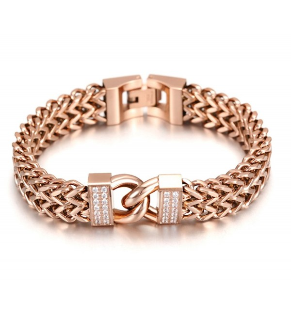 14K Rose Gold Plated Double Chain Link Maille Bangle Bracelet with Zircon Infinity Lock for Women - CL1825CTHA3