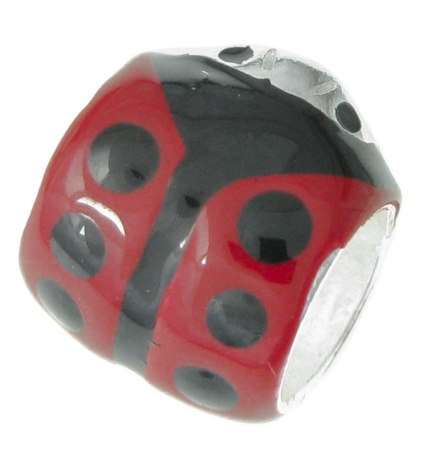 .925 Sterling Silver Ladybug Ladybird Insect Black Red Enamel Tube Bead For European Charm Bracelets - CP11IZW0EZN