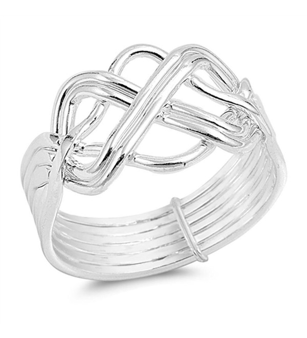 High Polish Bar Knot Puzzle Ring New .925 Sterling Silver Band Sizes 5-13 - CK12ELW8TPR