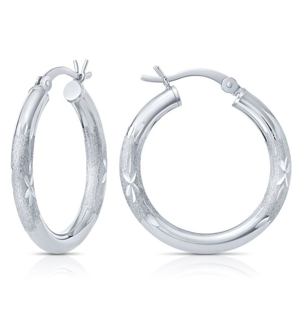 "Sterling Silver Diamond-Cut Round Hoop Earrings (1"" Diameter) - C712M1N249P"