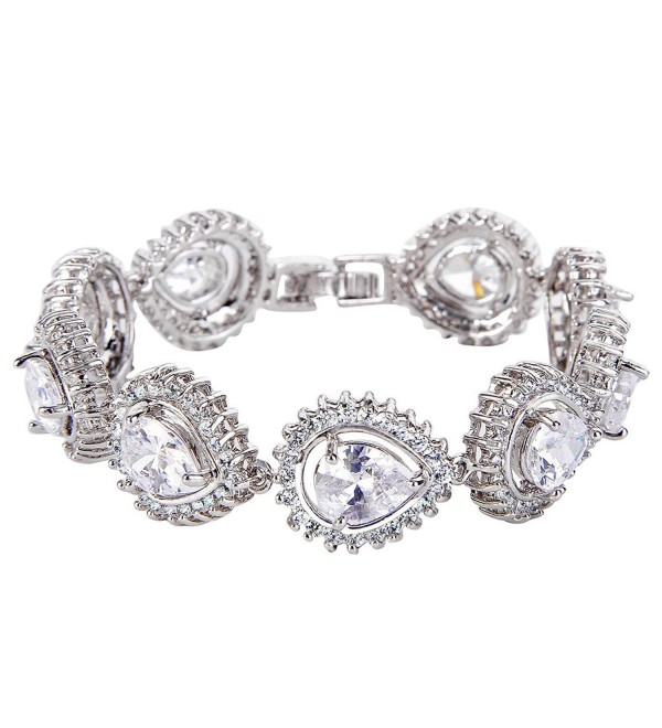 EVER FAITH Silver-Tone Cubic Zirconia Charming Hollow-out Tear Drop Row Tennis Bracelet - Clear - CH12FGLDCEP