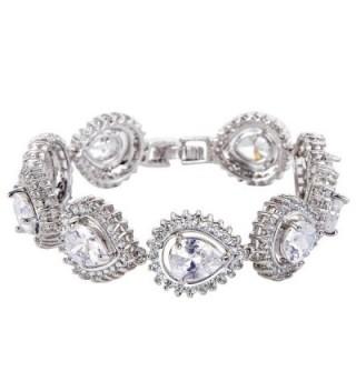 EVER FAITH Silver-Tone Cubic Zirconia Charming Hollow-out Tear Drop Row Tennis Bracelet - Clear - CH12FGLDCEP