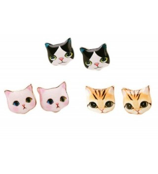 CUTIEJEWELRY Pretty Cute Kitty Cat Earrings For Women and Girls - 3 Pairs (Combo 1) - CF183RX74MK