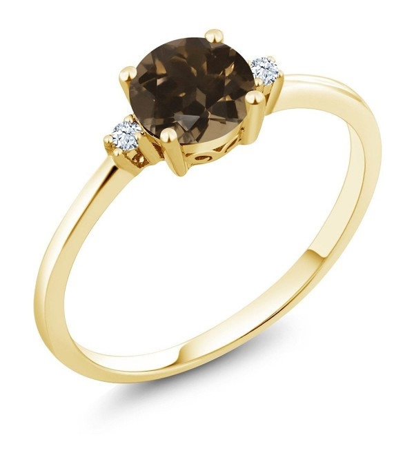 10K Yellow Gold Engagement Solitaire Ring set with 0.83 Ct Round Brown Smoky Quartz and White Created Sapphires - CP12OHZG9VK