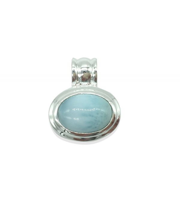 Larimar Gemstones with 925 Sterling Silver Pendant Hand Made for Women - CI17X3IYUHR