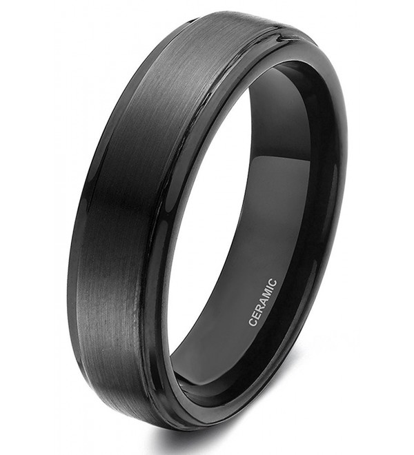 Black Ceramic Rings Brushed Wedding Band for men women - 6mm Ceramic - C7124PFK65V
