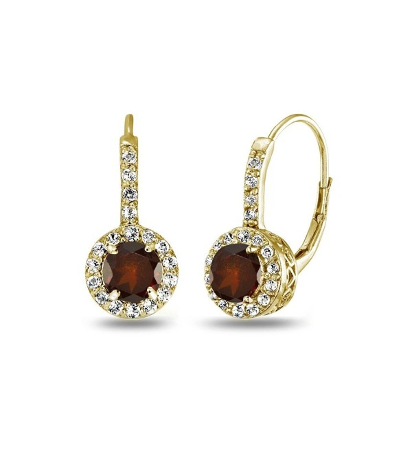 Yellow Flashed Sterling Leverback Earrings - Garnet - C81869HAUU4