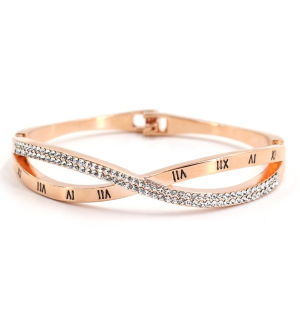 FIFLION Roman Numerals Cuff Female Bracelets Novelty Handcuffs Bangles Jewelry Women Crystal Bracelet - C31803AX76S