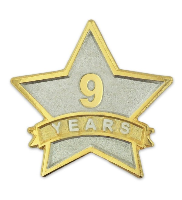 PinMart's 9 Year Service Award Star Corporate Recognition Dual Plated Lapel Pin - CB11NKC24XD