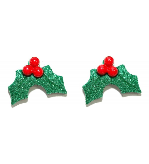 Glittery Christmas Holly Holiday Stud Earrings (H036) - C8183GNNL46