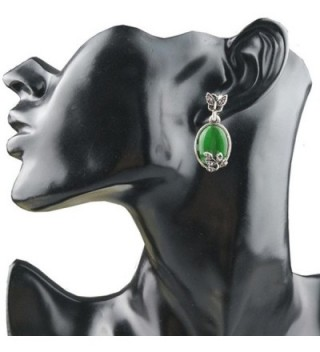 Susenstone Wedding Jewelry Butterfly Rhinestone Retro Cat's Eye Leaf Wedding Earrings - CV17AZSD4OR