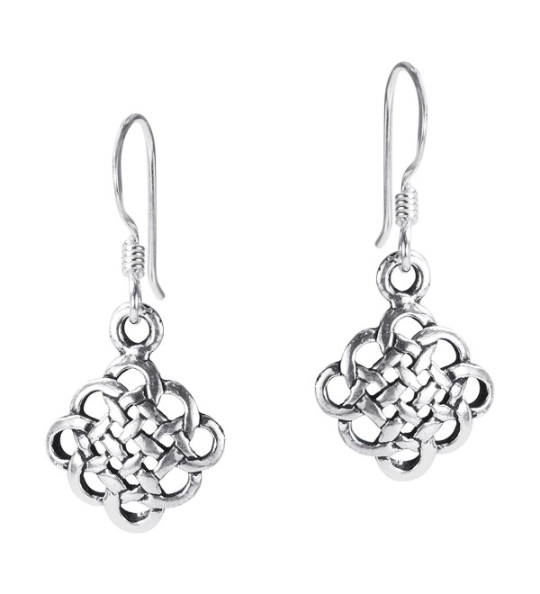 .925 Sterling Silver Alluring Celtic Knot Fish Hook Dangle Earrings - CZ11GMAXGZJ
