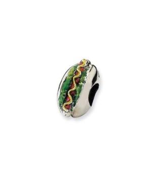 Sterling Silver Enameled Hot Dog Bead Charm - CJ116YCPU1J