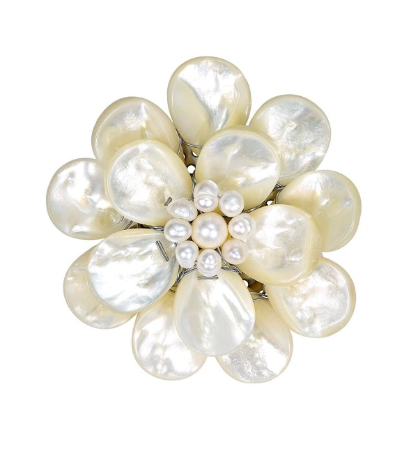 White Pure Lotus Mother of Pearl-Cultured Freshwater Pearls Floral Pin or Brooch - CU11QWPDSXF