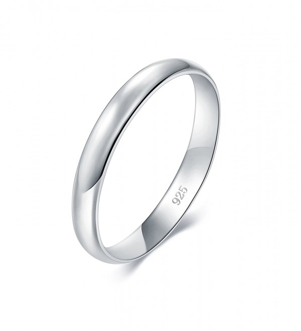 925 Sterling Silver Ring High Polish Plain Dome Tarnish Resistant Comfort Fit Wedding Band 3mm Ring - CL17YQON2Q9