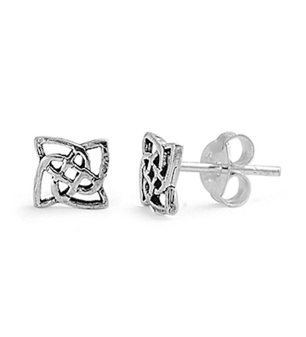 Small Tiny Pair of Square Celtic Knot Design Stud Post Earrings 925 Sterling Silver - CZ12N1WN372
