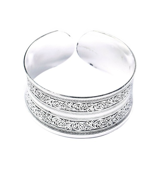 BODYA Classic Tibet Silver Carved Lucky Totem Flower Old Bangle Filled Wide Engrave Cuff Bracelet - C0127CDOLZT